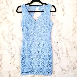 B. DARLIN Blue Flower Lace Mini Dress Sleeveless 9